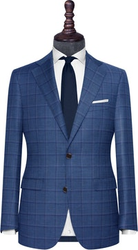InStitchu Collection The Florence Blue Windowpane Wool Jacket