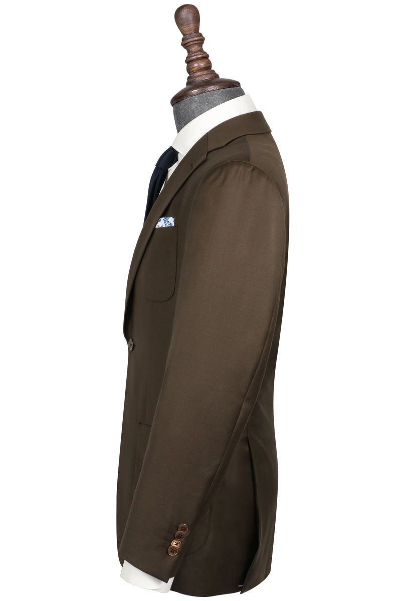 InStitchu Collection The Kerin Solid Olive Brown Wool Jacket
