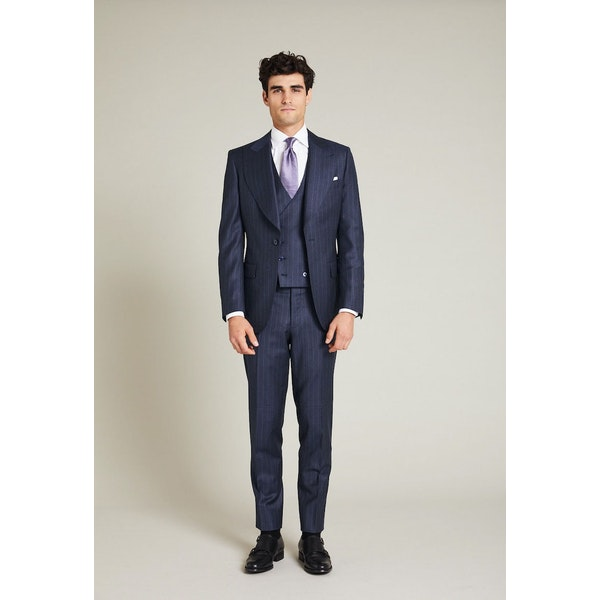 InStitchu Collection The Lander Navy Pinstripe Jacket