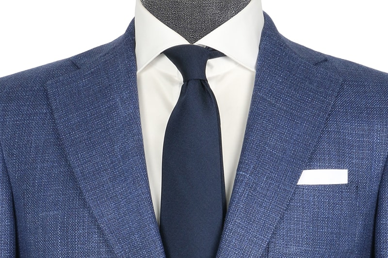 InStitchu Collection The Long Islander Navy Wool Silk Linen Blend Jacket