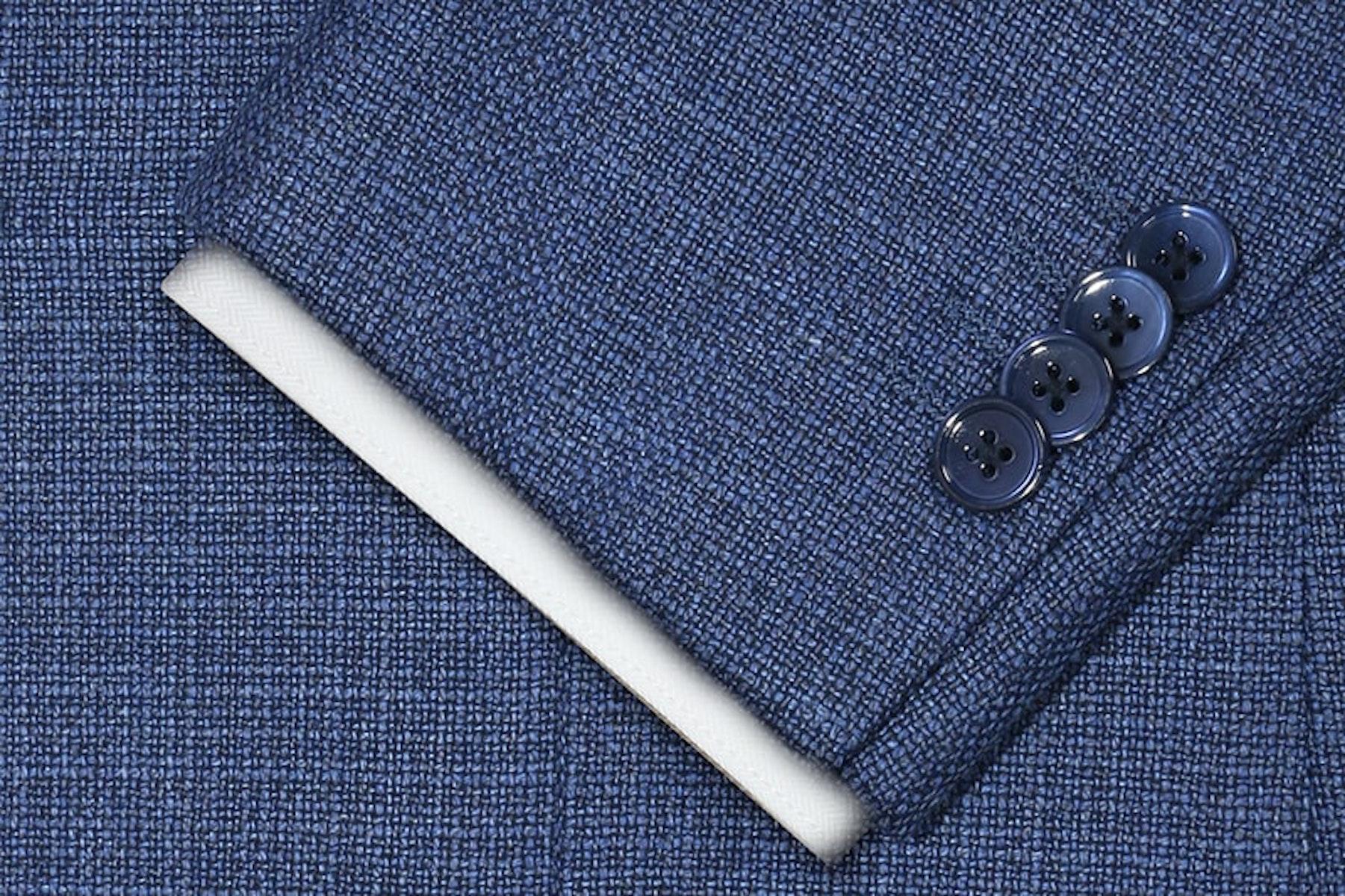 InStitchu Collection The Long Islander Navy Wool Silk Linen Blend Jacket