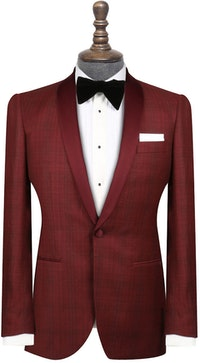 InStitchu Collection The Maldini Maroon Wool-Linen-Silk Tuxedo Jacket