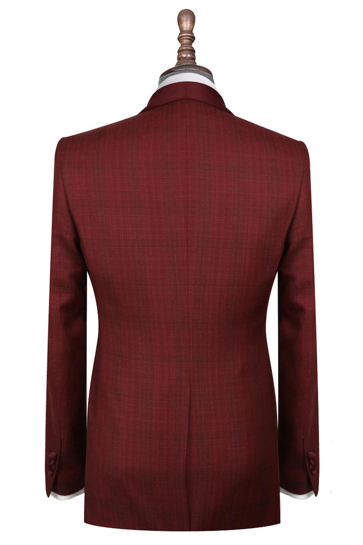 InStitchu Collection The Maldini Maroon Wool-Linen-Silk Tuxedo Jacket