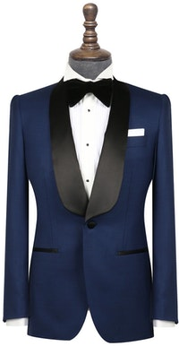 InStitchu Collection The Matteo Midnight Navy Houndstooth Wool Tuxedo Jacket