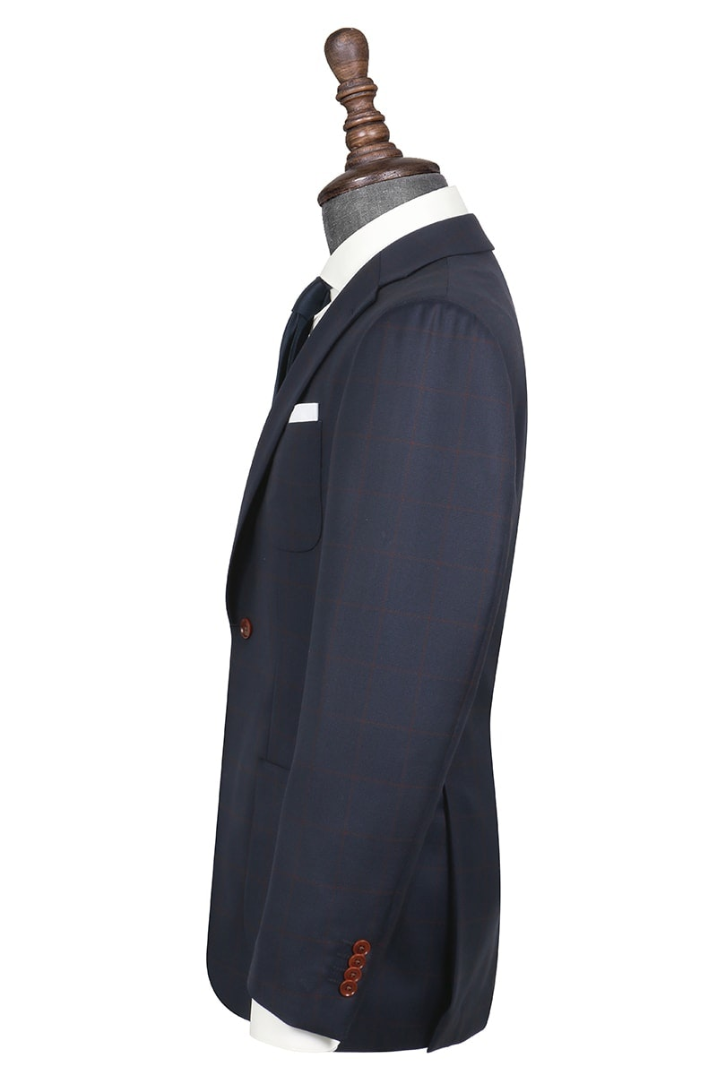 InStitchu Collection The Maurice Navy Blue and Maroon Windowpane Wool Jacket