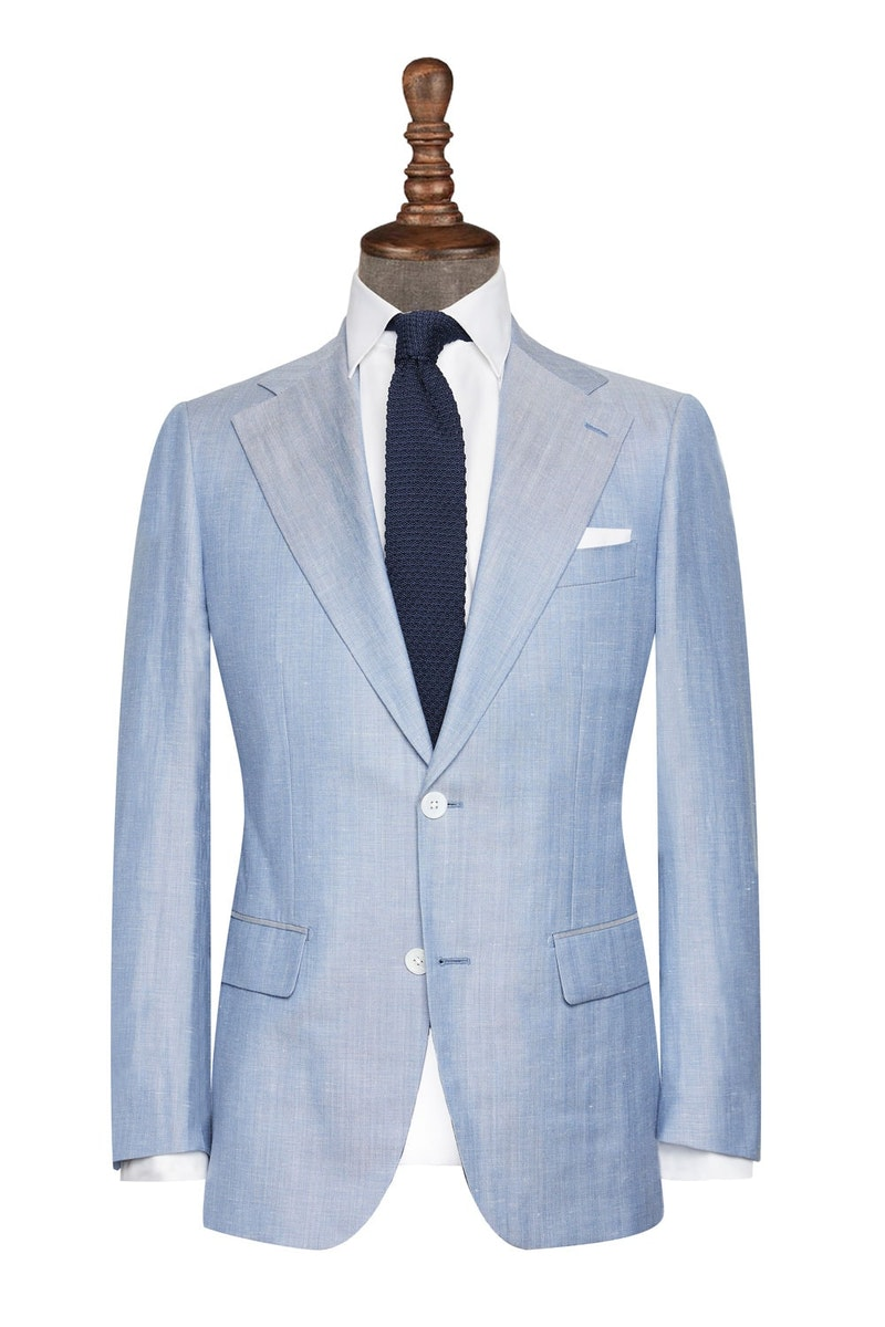 InStitchu Collection The Montebello Blue Wool Linen Jacket