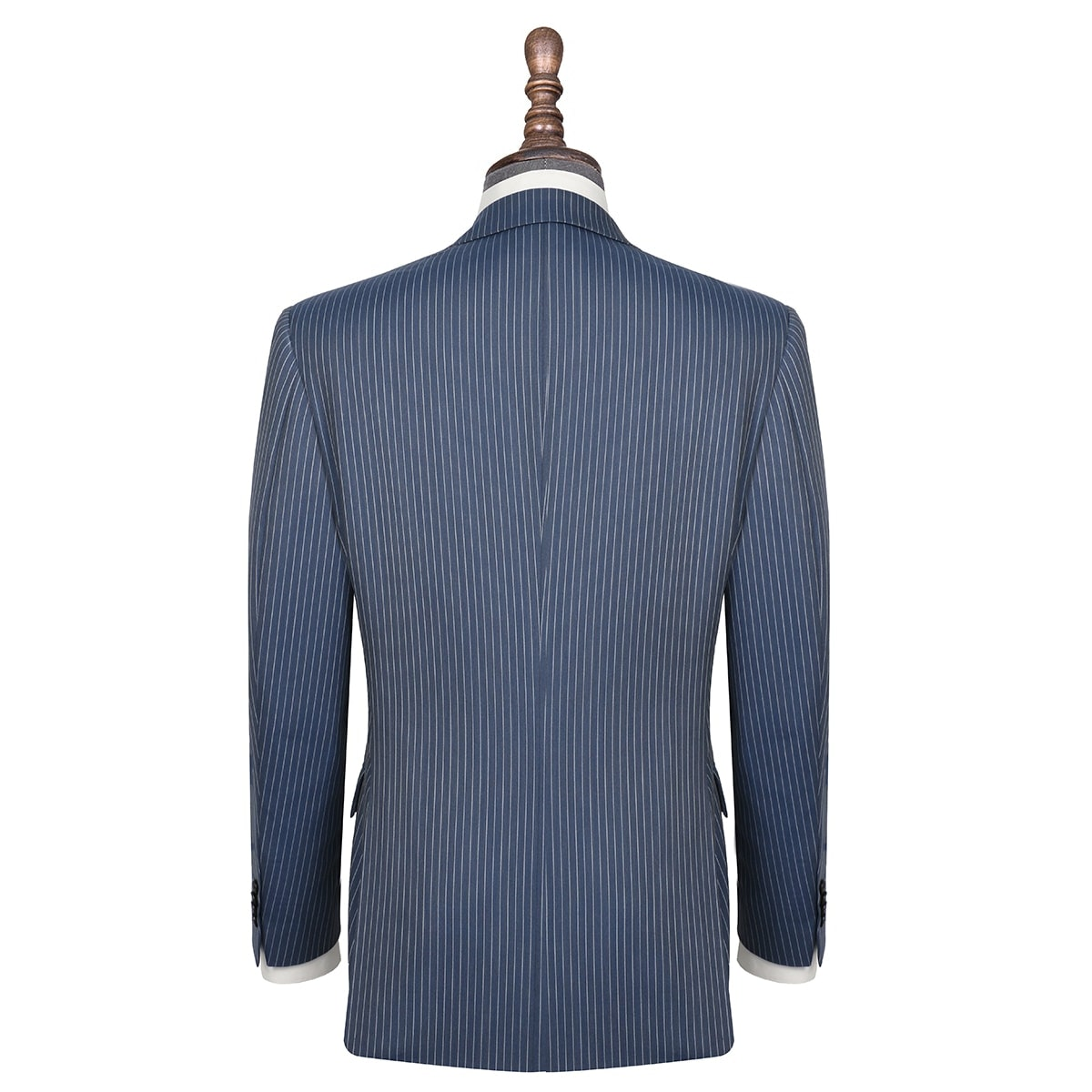 InStitchu Collection The Queens Navy Wool Pinstripe Jacket