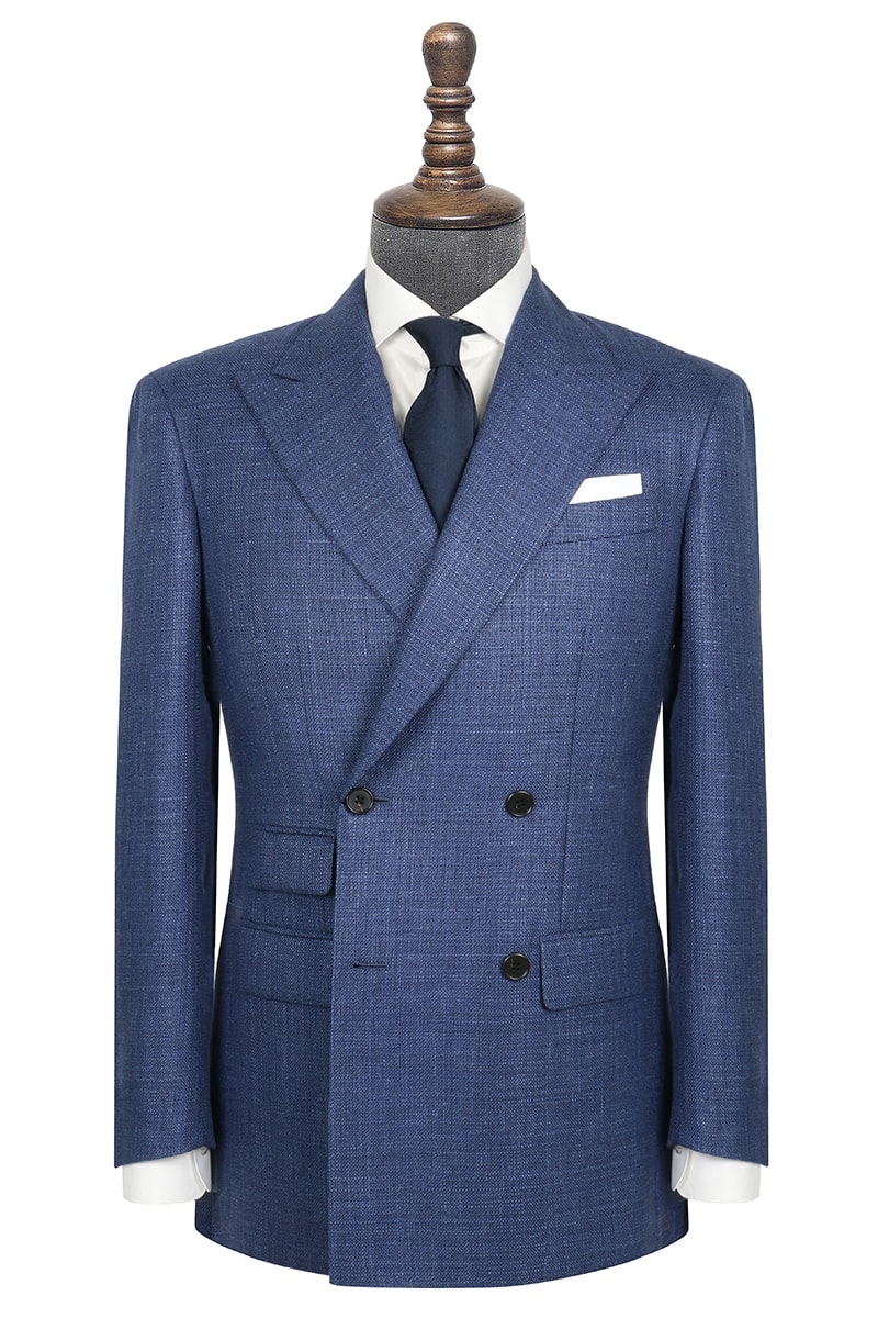 InStitchu Collection The Rocklyn Mid-Blue Tweed Wool Blend Jacket