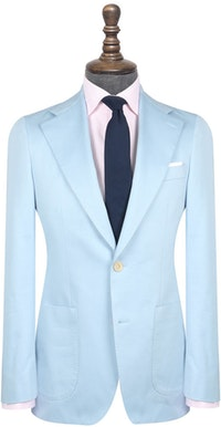 InStitchu Collection The Sinatra Light Blue Cotton Jacket