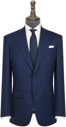 InStitchu Collection The Toland Navy Blue Pinstripe Wool Jacket