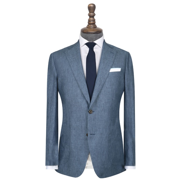 InStitchu Collection The Tompkins Blue Linen Jacket