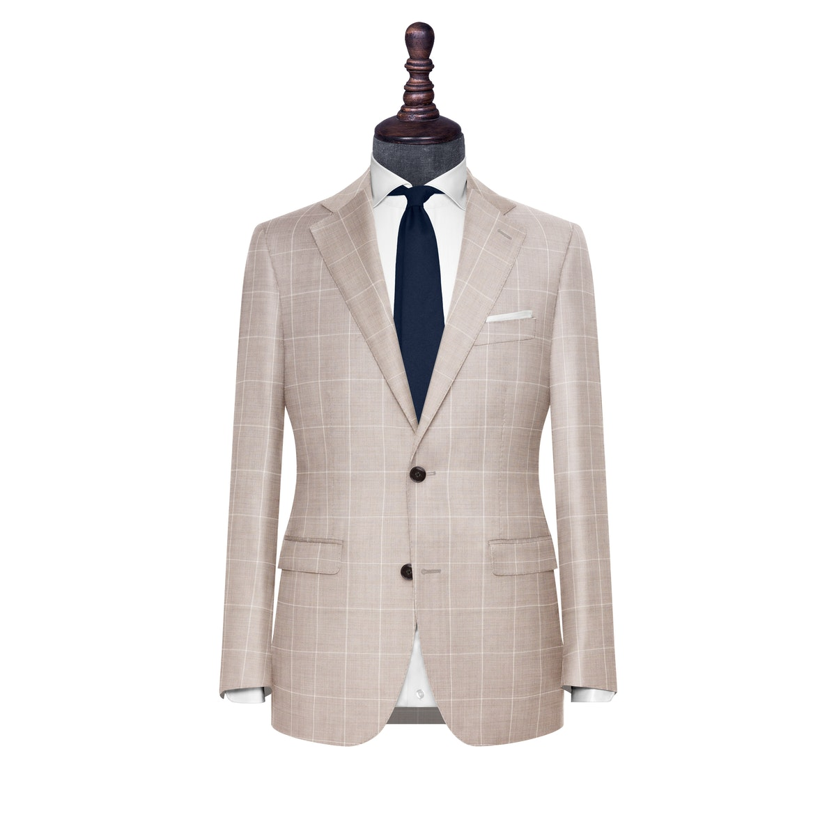 InStitchu Collection The Treviso Beige Windowpane Wool Jacket
