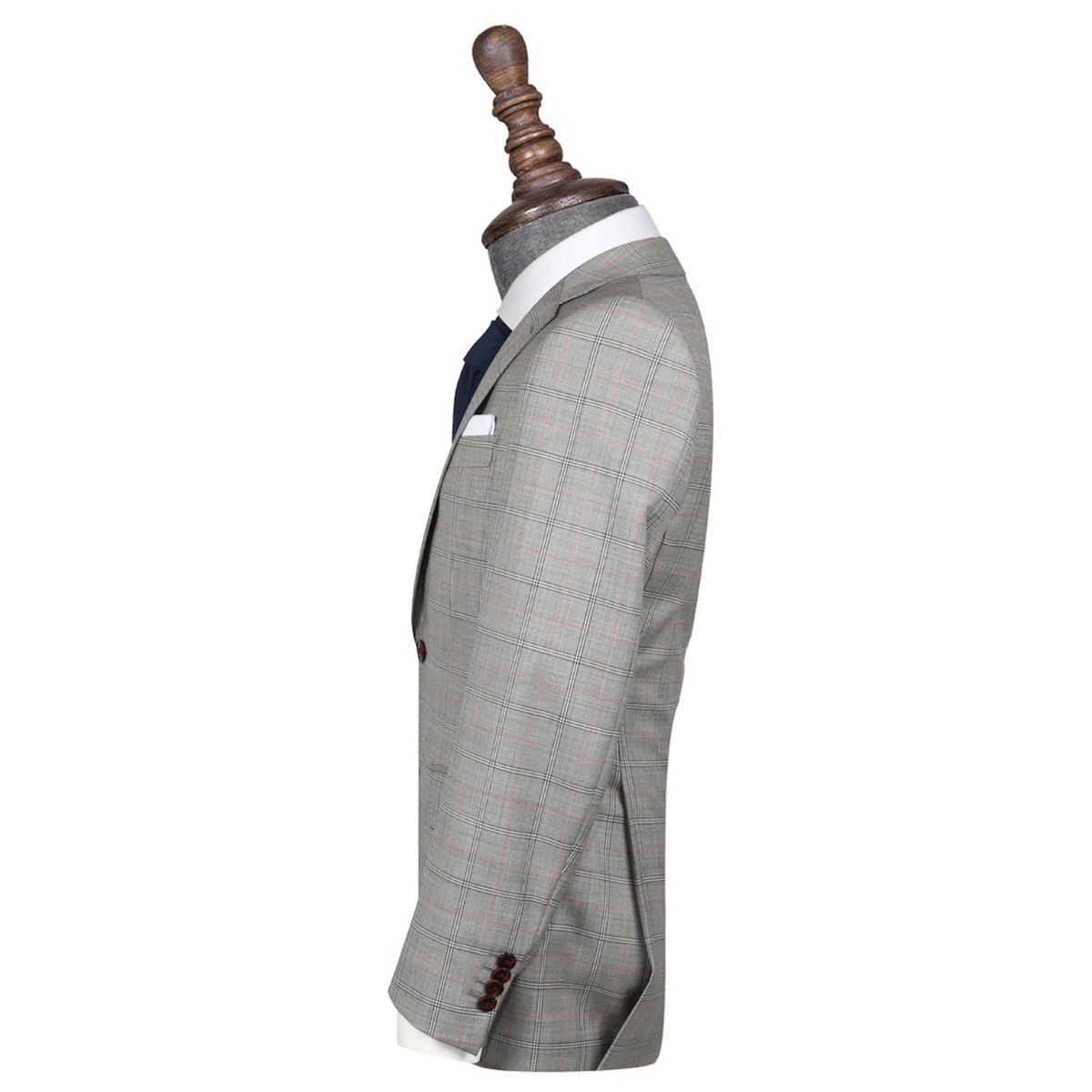 InStitchu Collection The Vanni Grey and Red Windowpane Wool Jacket