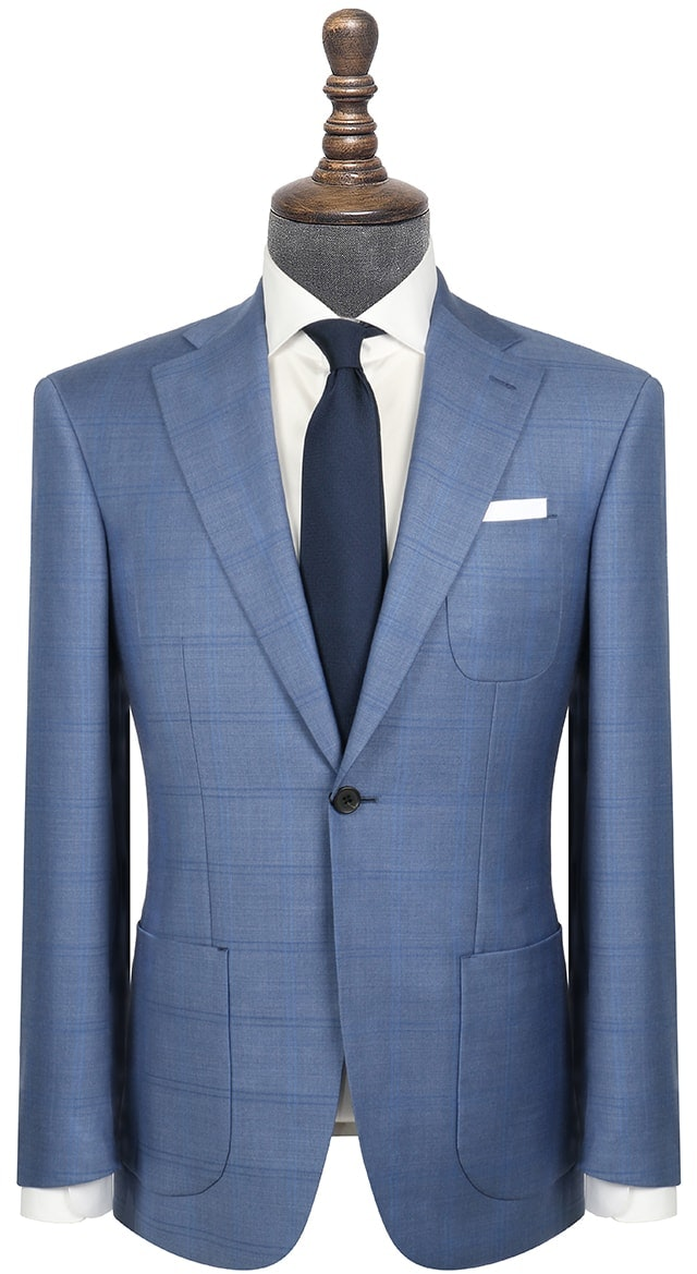InStitchu Collection The Wall Street Navy Wool Windowpane Jacket