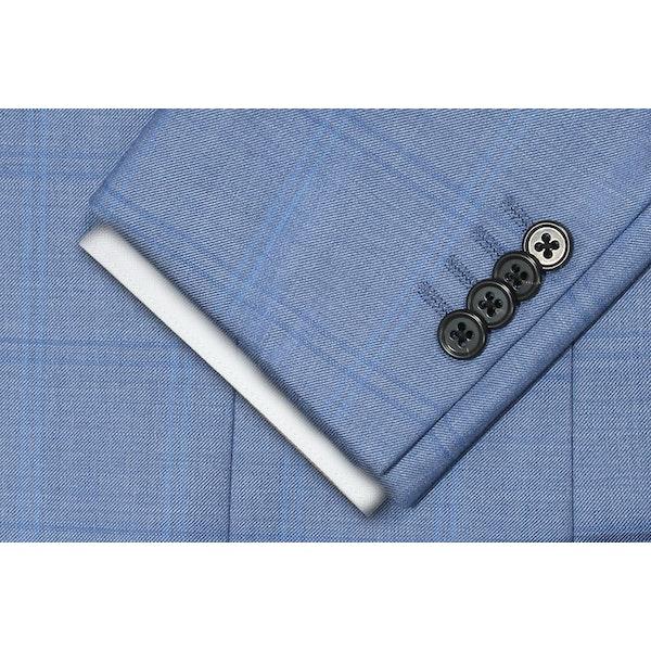 InStitchu Collection The Wall Street Navy Wool Windowpane Jacket
