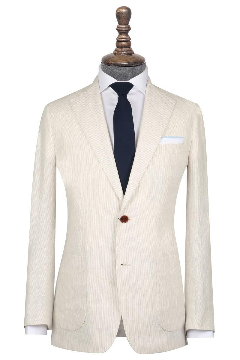 InStitchu Collection The Wolfsheim Cream Striped Linen Jacket