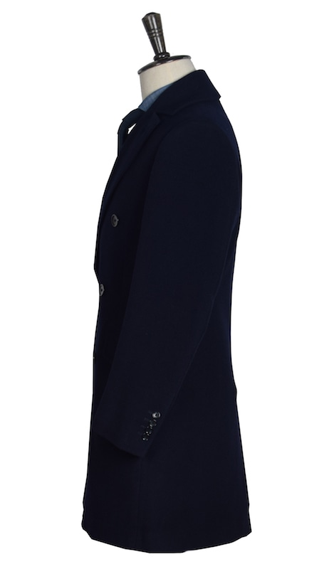 InStitchu Overcoats Navy Plain Wool Overcoat