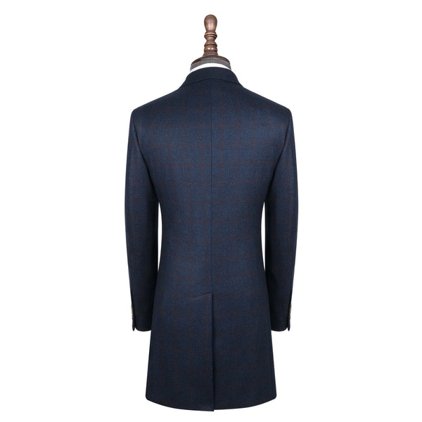 InStitchu Blue with Red Wine Check Overcoat Back