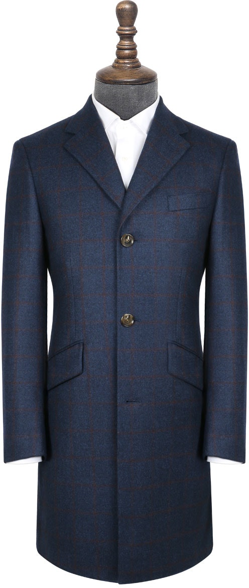 InStitchu Blue with Red Wine Check Overcoat