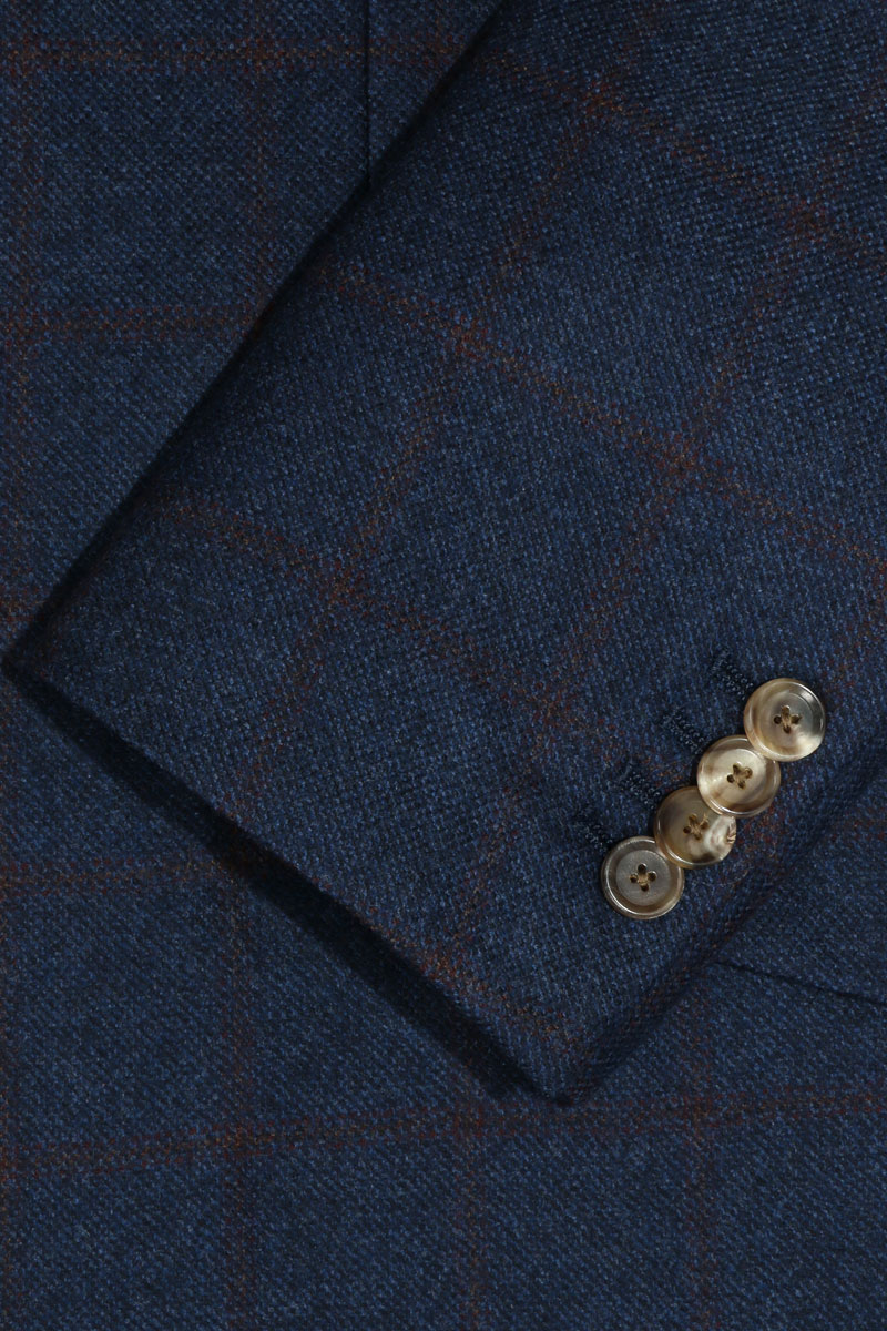 InStitchu Blue with Red Wine Check Overcoat Sleeve Detail
