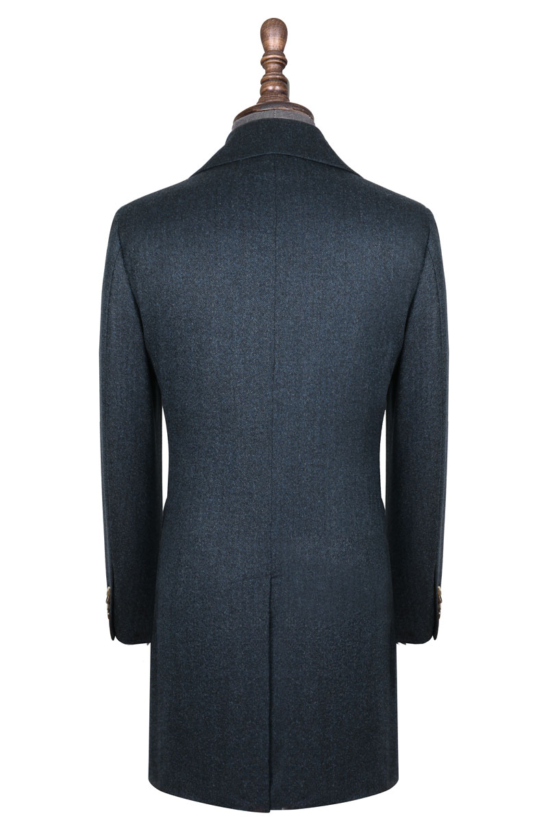 InStitchu Deep Blue Grain Overcoat Back
