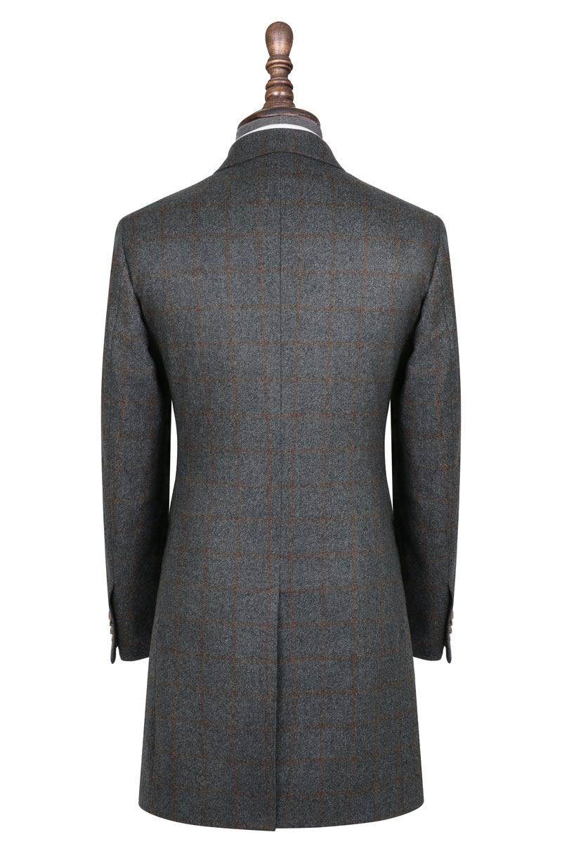 InStitchu Grey with Autumn Check Overcoat Back