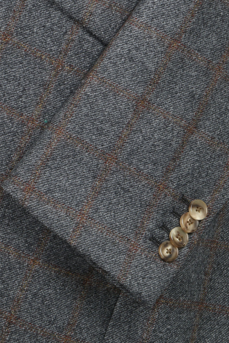 InStitchu Grey with Autumn Check Overcoat Sleeve Detail