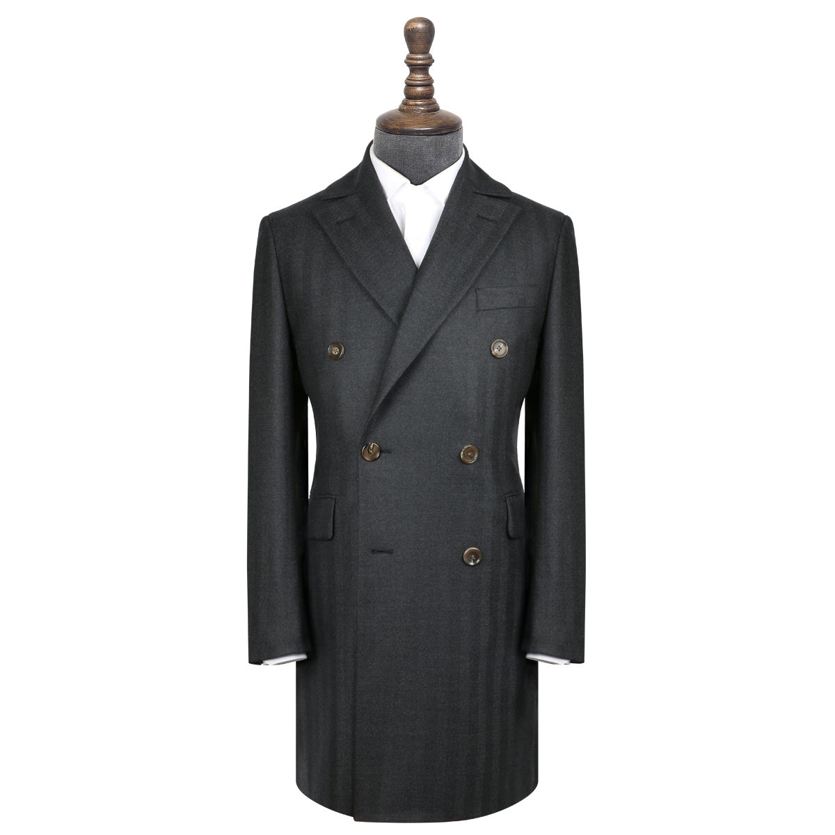 InStitchu Navy Herringbone Overcoat