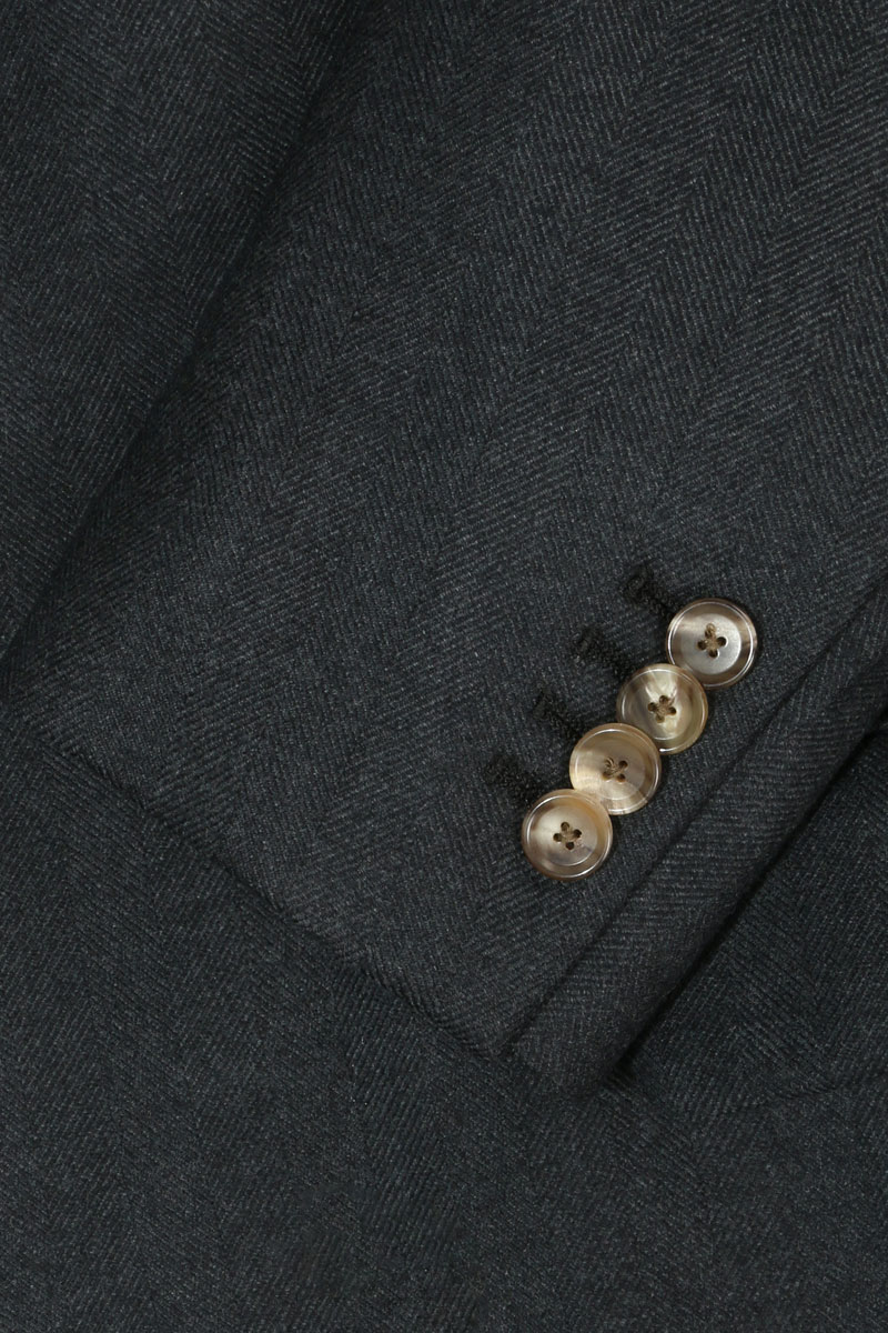 InStitchu Navy Herringbone Overcoat Sleeve Detail