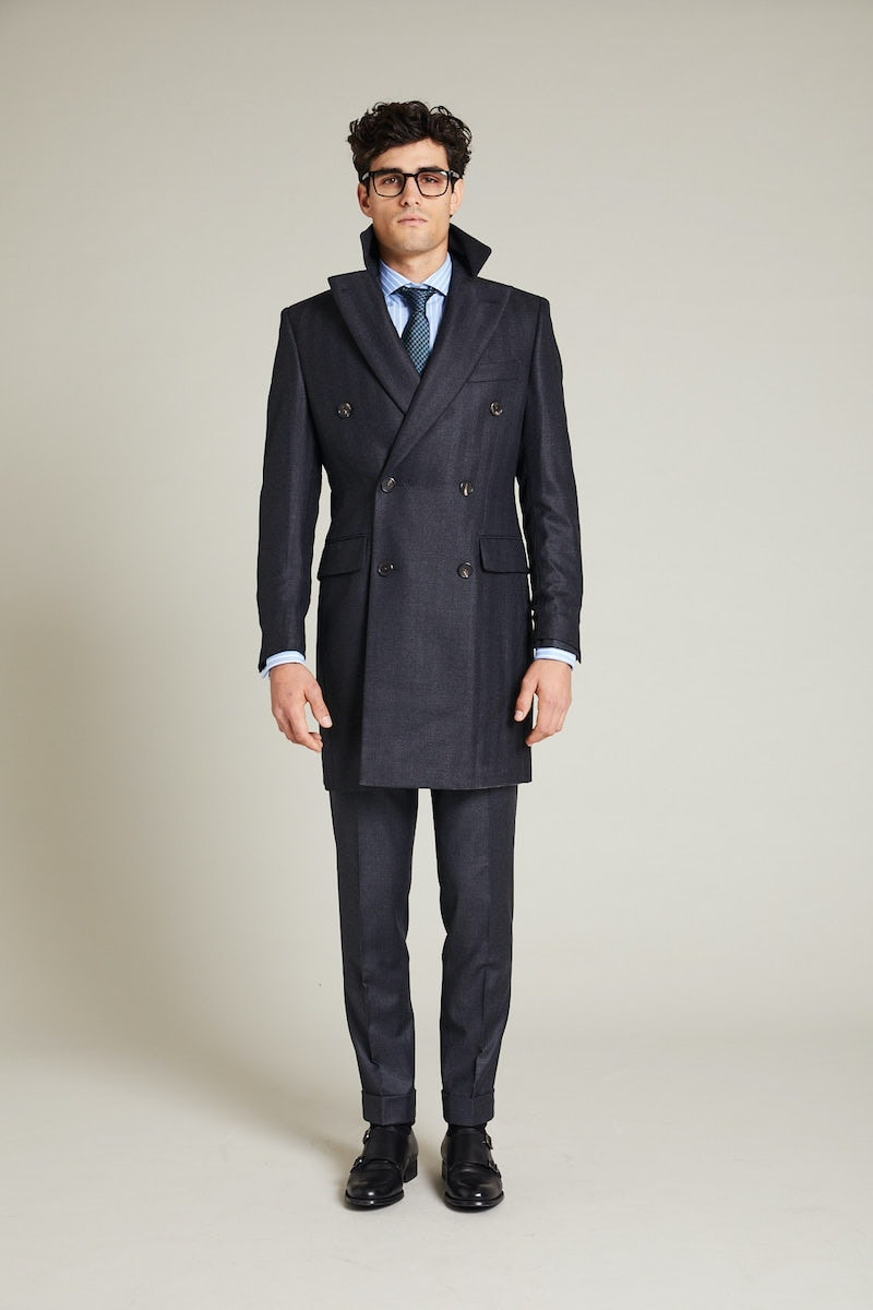 InStitchu Charcoal Herringbone Overcoat