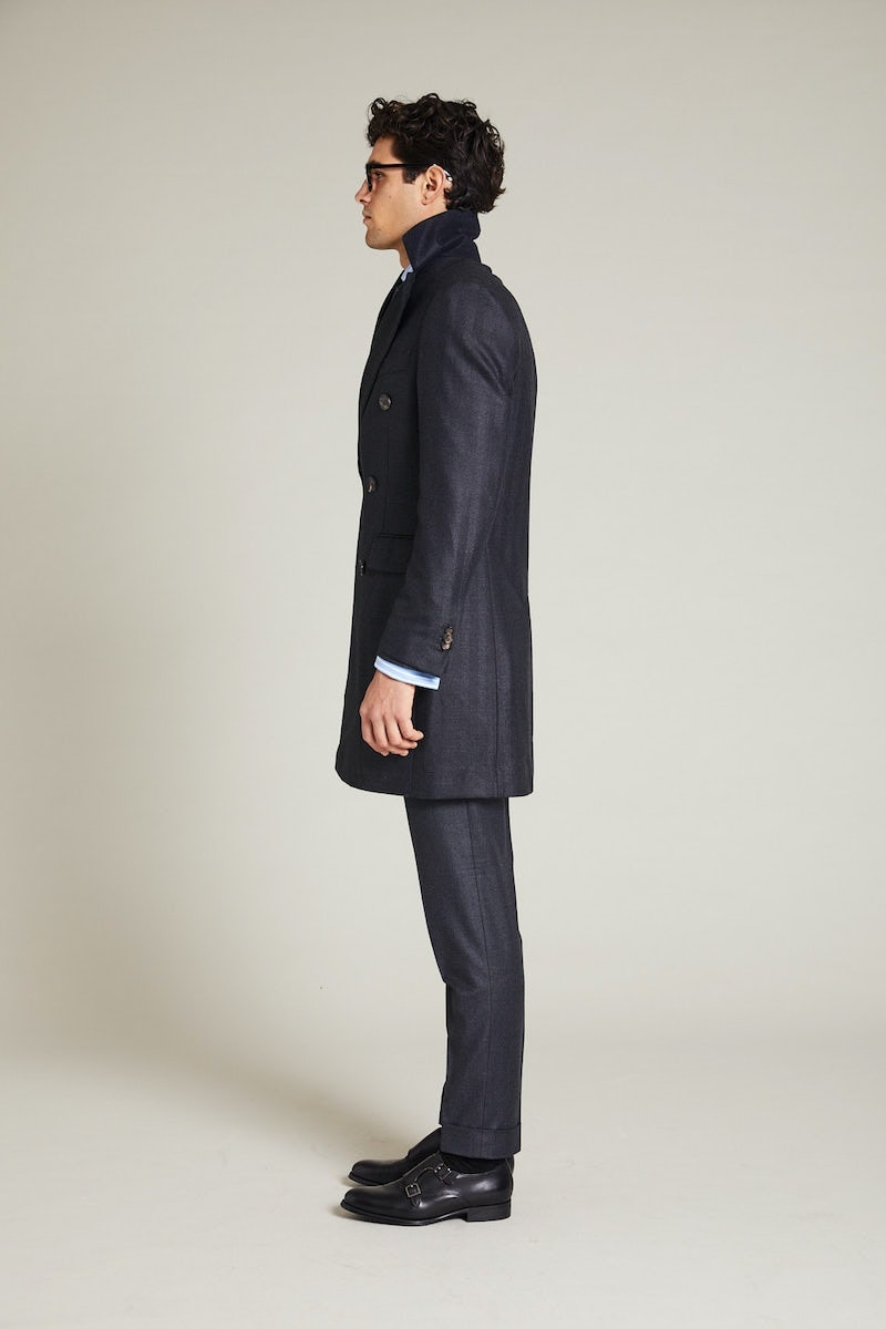 InStitchu Charcoal Herringbone Overcoat Back