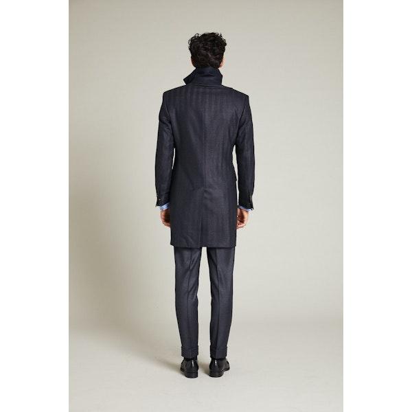 InStitchu Charcoal Herringbone Overcoat Sleeve Detail