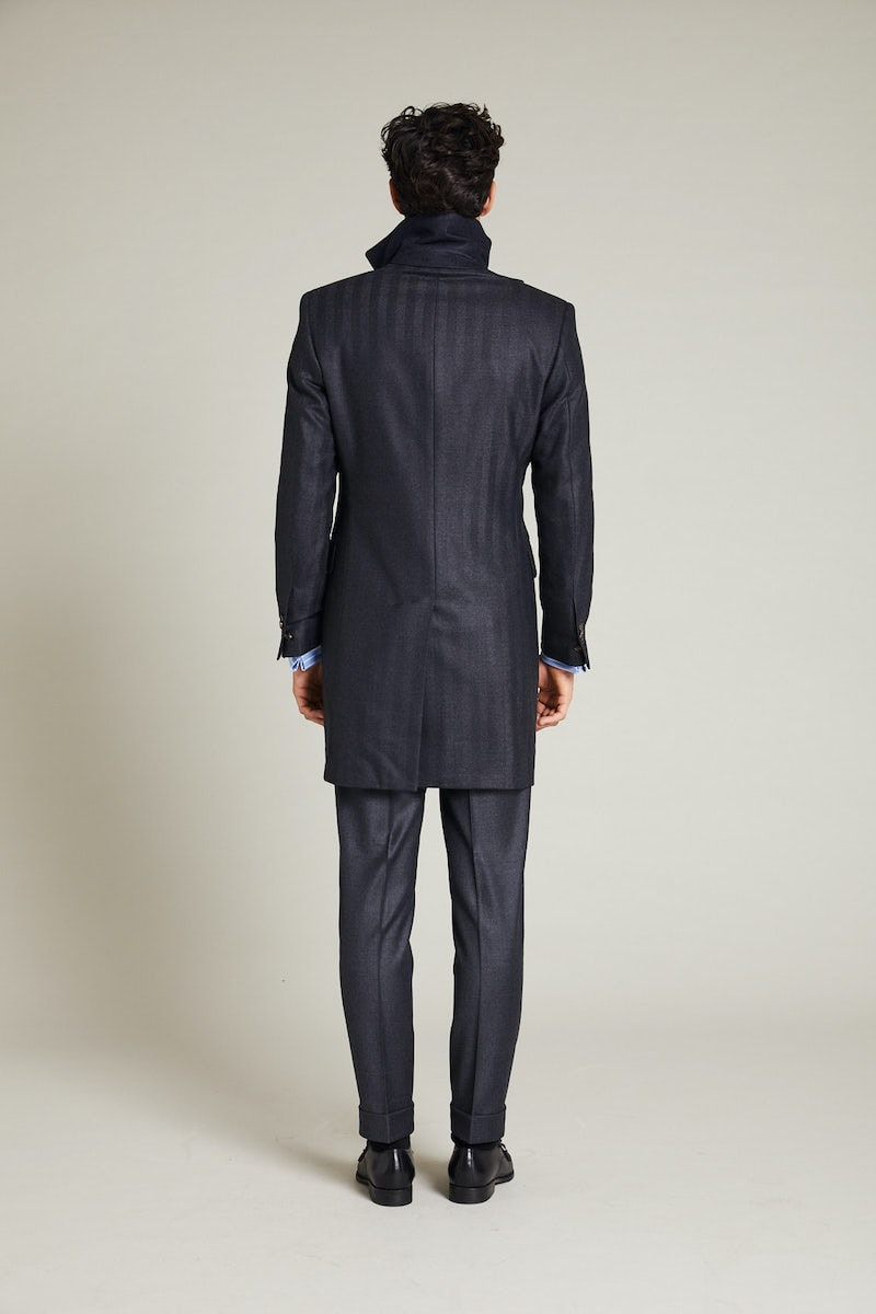 InStitchu Charcoal Herringbone Overcoat Sleeve Detail