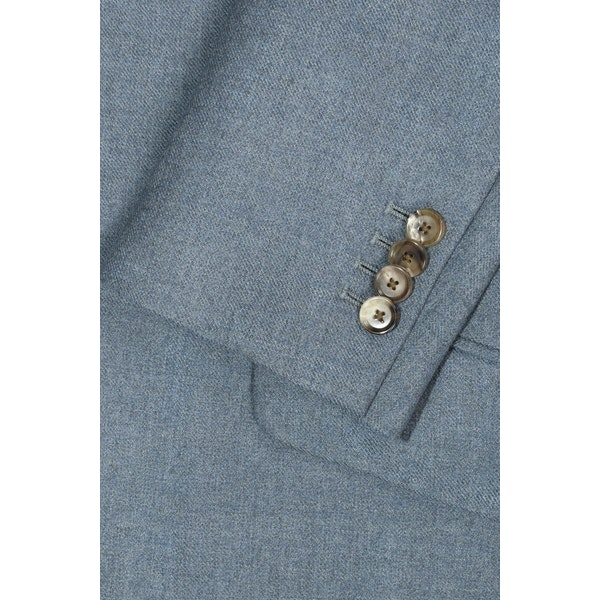 InStitchu Washed Slate Blue Overcoat Sleeve Detail