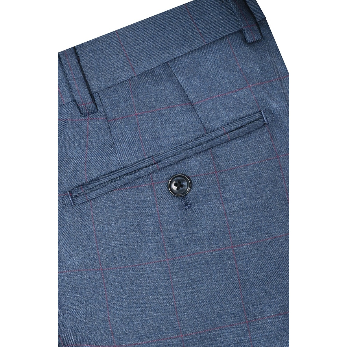 InStitchu Collection Beez Blue Windowpane Wool Pants