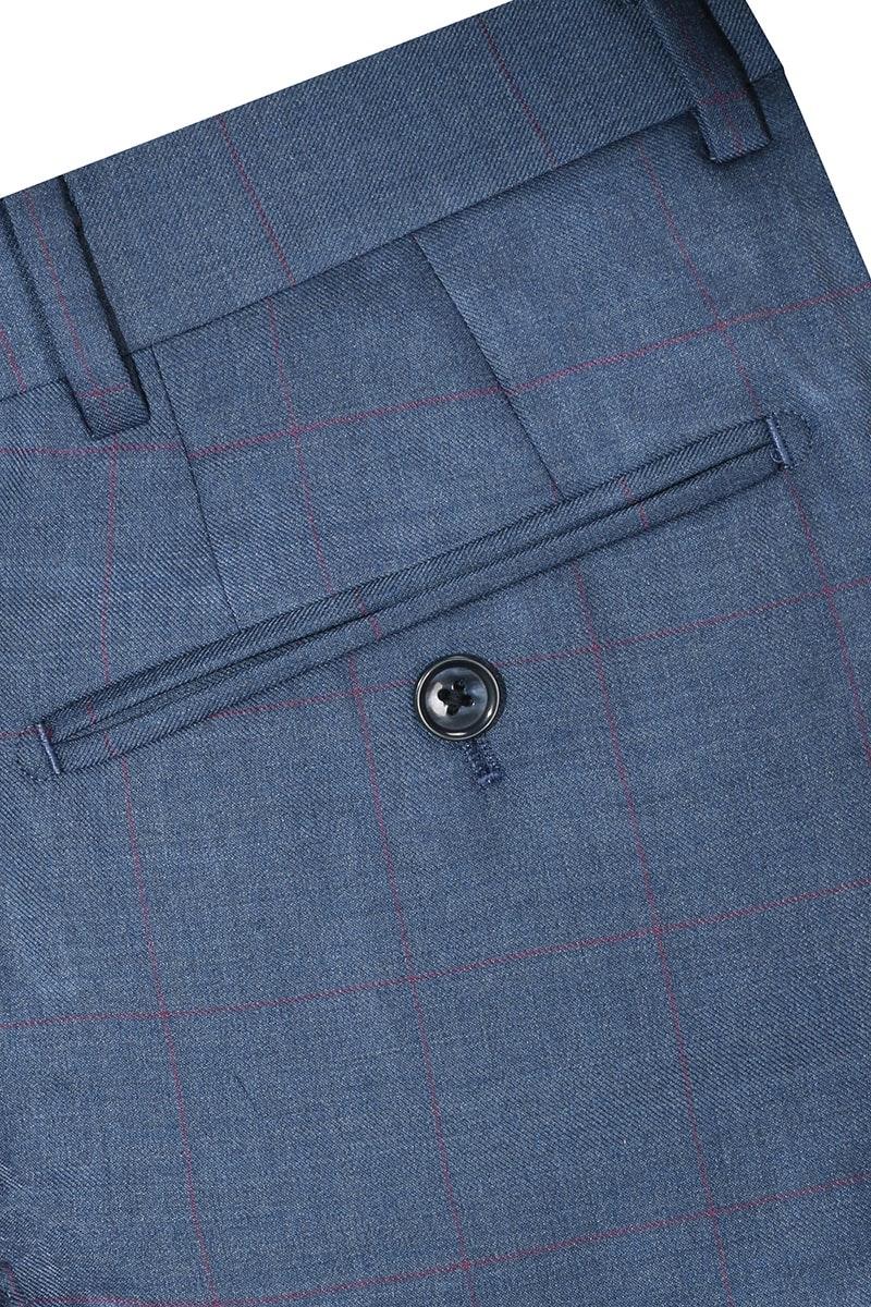 InStitchu Collection Beez Blue Windowpane Wool Pants