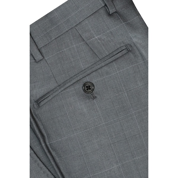 InStitchu Collection Casey Grey Windowpane Wool Pants