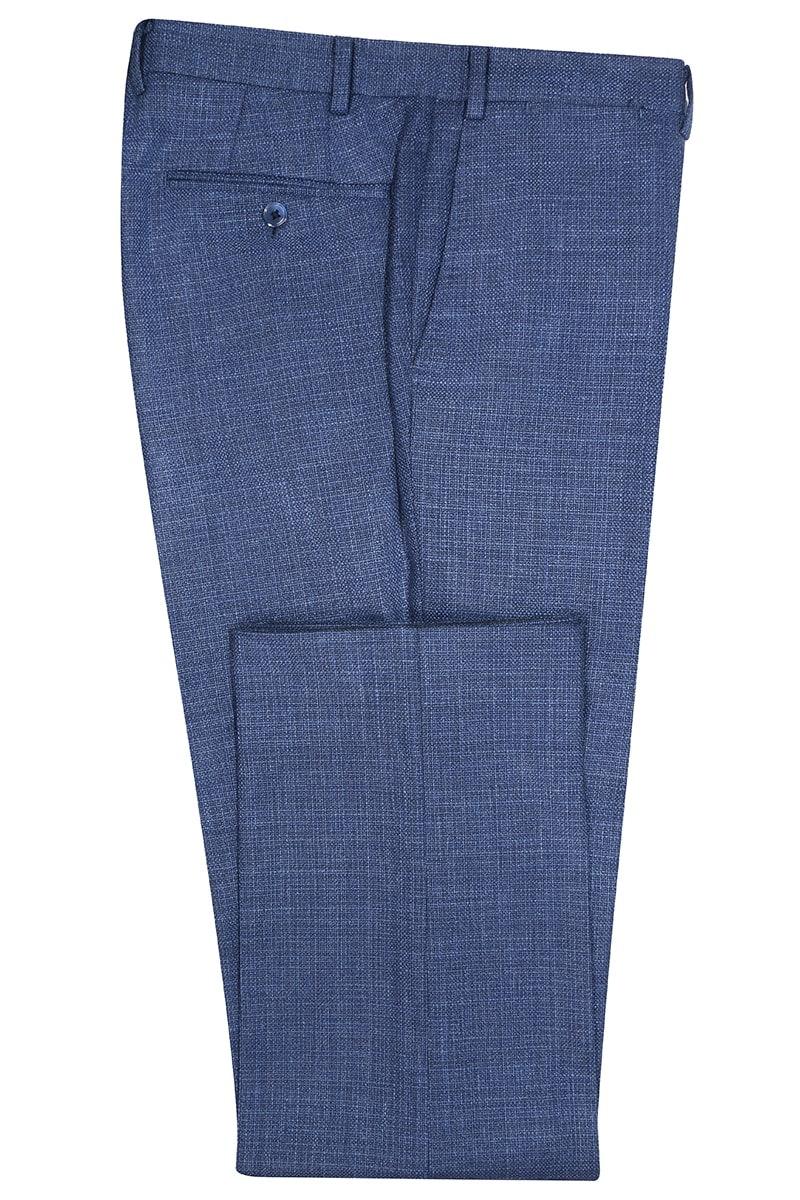 InStitchu Collection Eton Nailhead Blue Wool Pants