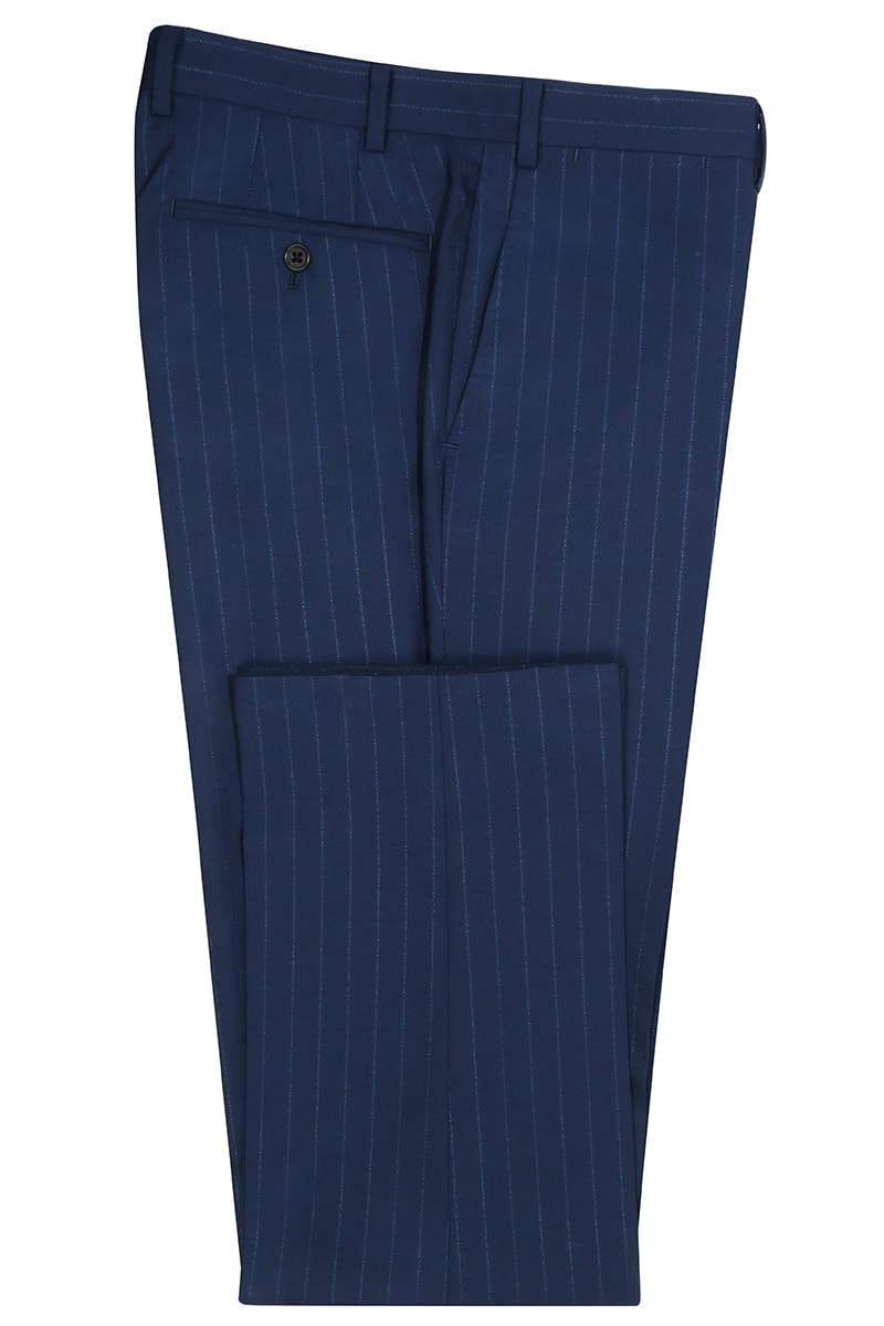 InStitchu Collection Hyndford Navy Chalkstripe Wool Pants