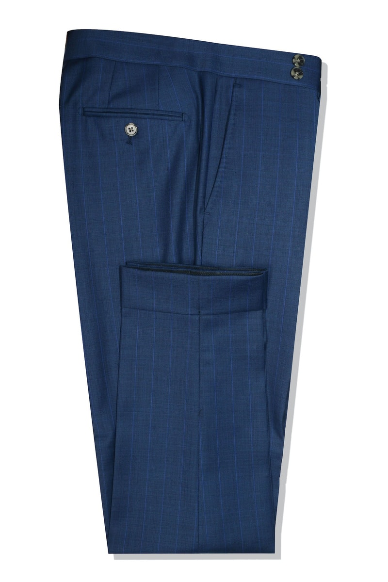 InStitchu Collection Rigside Blue Chalkstripe Wool Pants