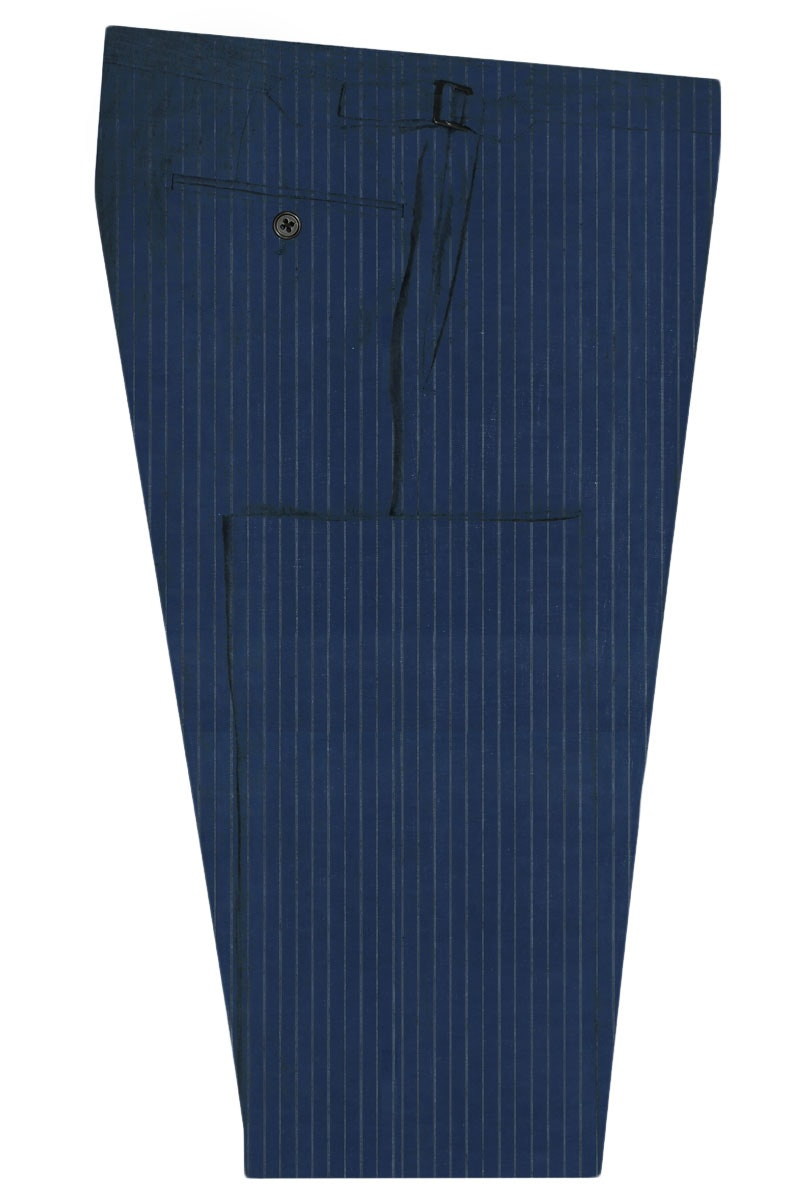 InStitchu Collection The Aberdeen Blue Grey Pinstripe Wool Pants