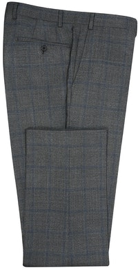 InStitchu Collection The Carnegie Deep Grey and Blue Check Wool Pants
