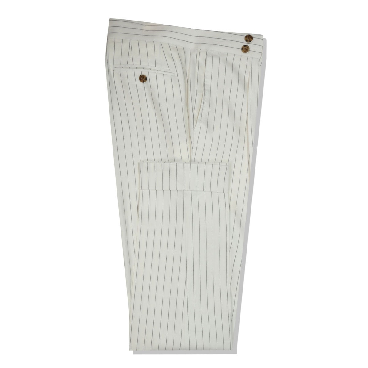 InStitchu Collection The Carraway White With Black Pinstripe Linen Pants