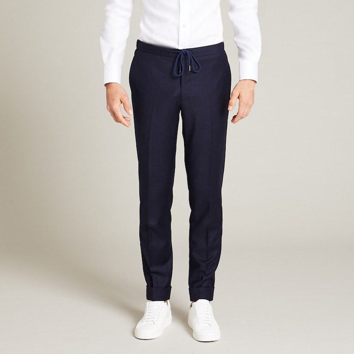 InStitchu Collection The Harrison Navy Flannel Drawstring Pants