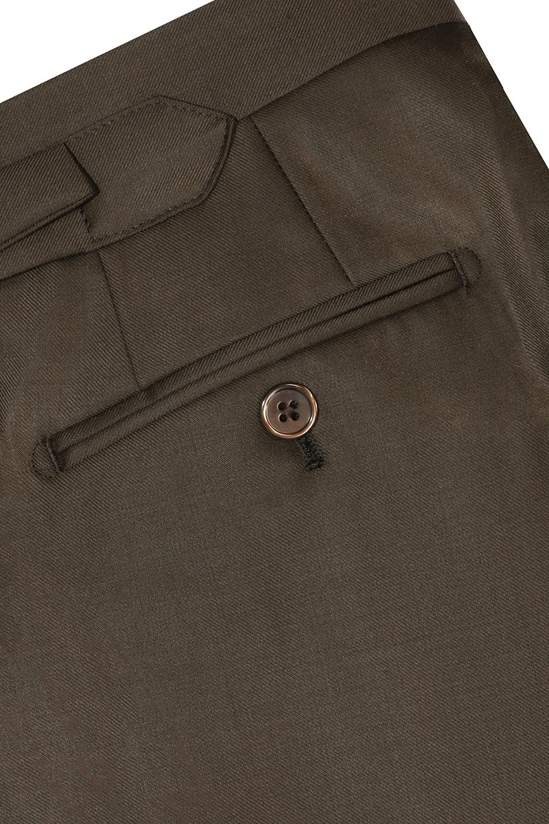 InStitchu Collection The Kerin Solid Olive Brown Wool Pants