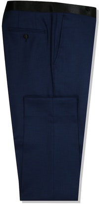 InStitchu Collection The Matteo Midnight Navy Houndstooth Wool Tuxedo Pants