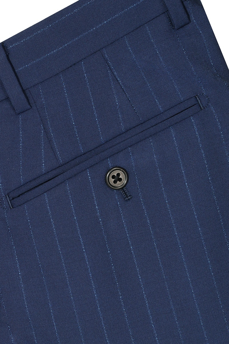 InStitchu Collection The Toland Navy Blue Pinstripe Wool Pants