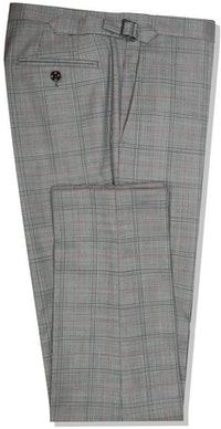 InStitchu Collection The Vanni Grey and Red Windowpane Wool Pants