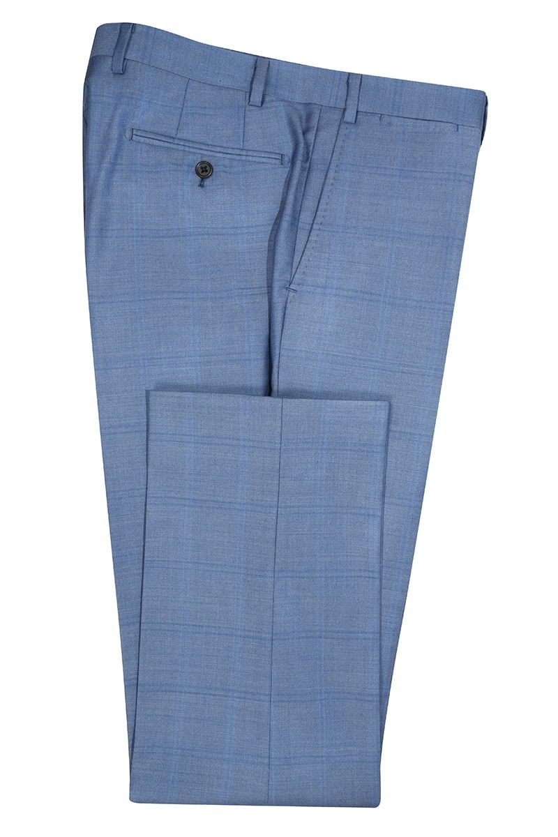 InStitchu Collection The Wall Street Navy Windowpane Wool Pants
