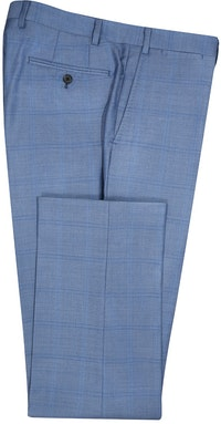 InStitchu Collection The Wall Street Navy Windowpane Wool Pants